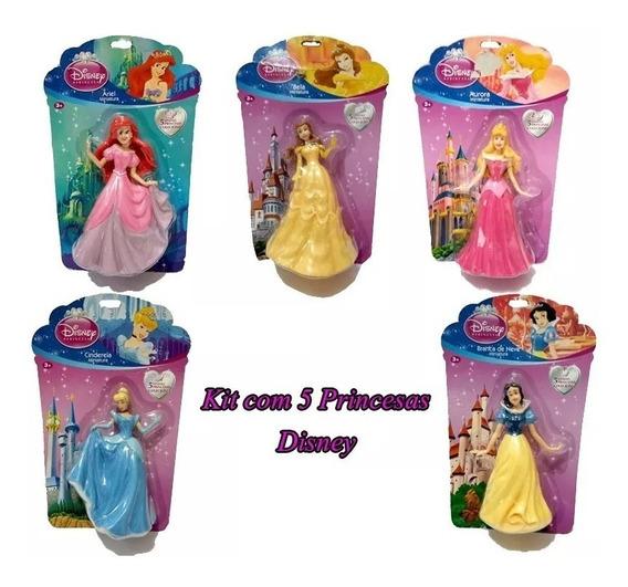 Miniaturas Bonecas Princesas Disney - Amatoys Kit 5 Bonecas
