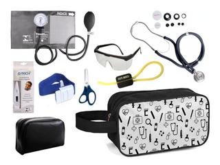 Kit Enfermagem Aparelho + Estetoscópio Premium Coloridos