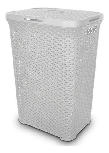 Imagen 1 de 2 de Canasto Estilo Ratan Cesto Plástico Alto Con Tapa Colombraro