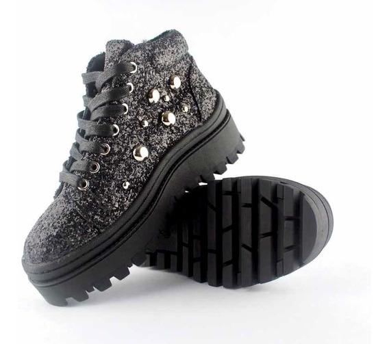 Zapatillas Plataforma De Mujer Tipo C/moran Brillos