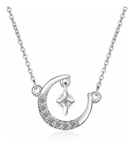 Imagen 1 de 5 de Collar Luna Estrella Fugaz Dorado Plata 925 Micro Cristales