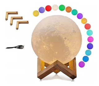 Lampara Luna 15 Cm 3d Moon Lamp Light Tactil Control Rgb