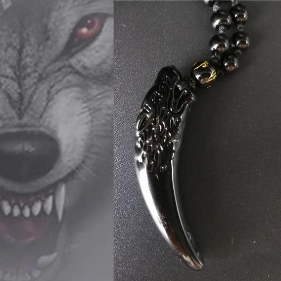 Colar Cordão Masculino Obsidiana Dente De Lobo Proteção