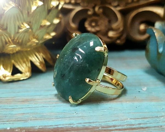 Anel De Pedra Quartzo Verde (ajustável) - Equilibra A Saúde