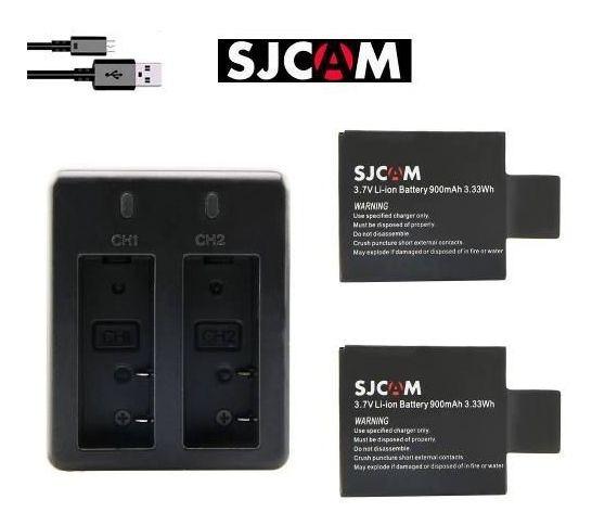 2 Baterias Original & Carregador Duplo Sjcam Sj4000 Sj5000