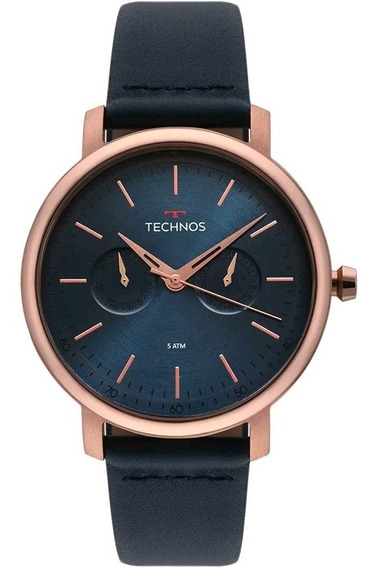Relógio Technos Masculino Couro Azul 6p25bs/2a Original
