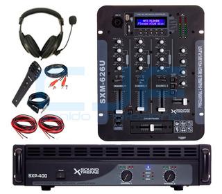 Potencia Soundxtreme Sxp 400 + Mixer Sxm 626 +auric+mic Cjf