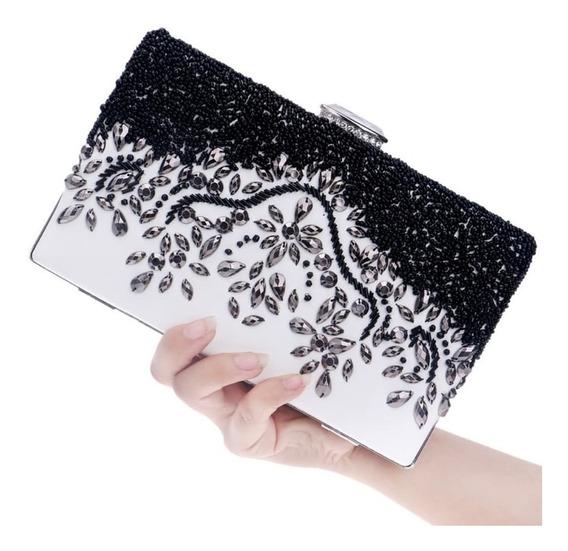 Clutch Bag De Festa Bolsa De Mão Luxo Preta E Branca Pedras