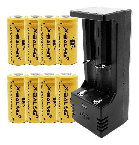 Carregador Duplo + 8 Baterias Cr123a Recarregável 16340