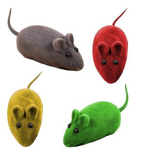 Juguete Ratón Con Chifle P/ Gato 4 Unidades / Mundo Mascota