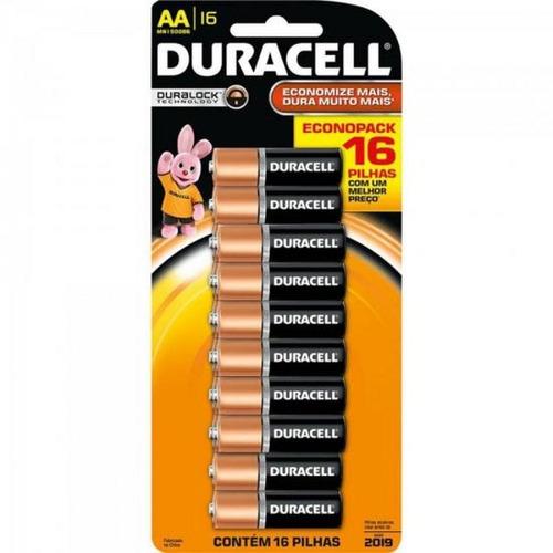 Pilha Duracell Alcalina Aa Kit Com 16un. Pilha Normal.