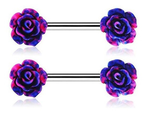 Imagen 1 de 3 de Piercing Para Pezon De 0.49 Oz Con Flor De Rosa, Barra De 0.