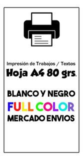 Impresión A4 Color 80 Gr. Trabajos Word Pdf