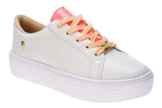 Tenis Feminino Fluorescente Amarração Neon E Branco Fashion