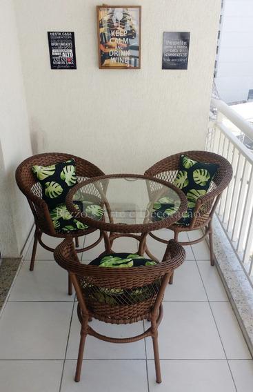 Conjunto De Mesa 3 Cadeira Hotel Varanda Fibra Sintética