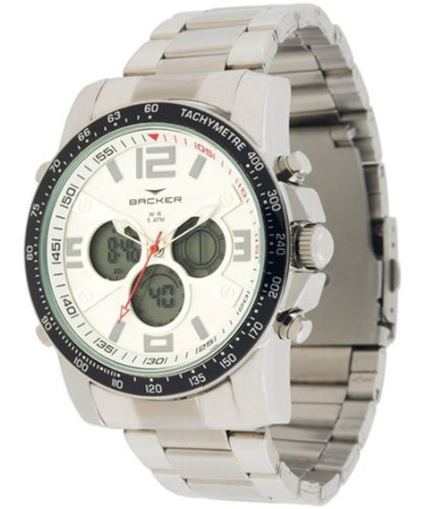 Relógio Backer Masculino Prata Visor Digital 3568323m Br