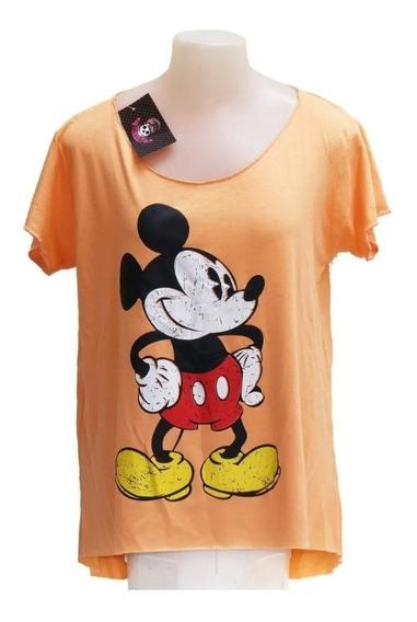 Camiseta Mickey Feminina Cor Salmão
