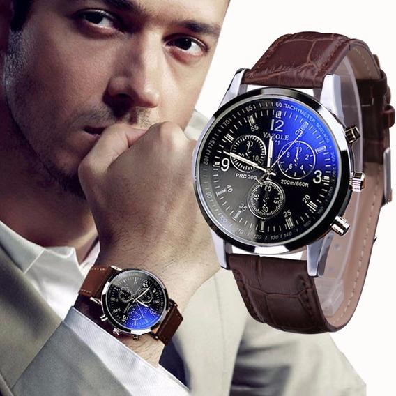 Relógio Quartzo De Luxo Em Couro Vidro Ray Azul Frete Gratis