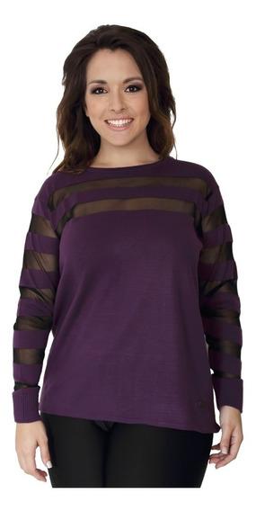 Sweater Portofem Con Rayas Transparentes - Talles Grandes