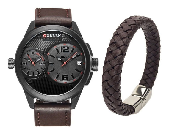 Kit Relógio Masculino E Pulseira De Couro Vanglore Detroit