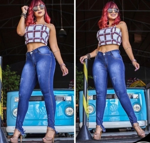 Calça Feminina Jeans Cintura Alta Com Lycra Barata