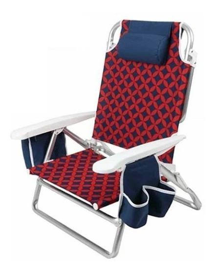 Cadeira De Praia Alta Alumínio Dobrável 5 Posições Capri Rio
