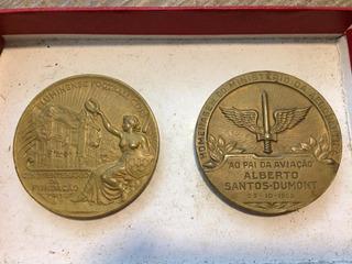 Coleção De 2 Medalhões De Bronze + 308 Moedas + 69 Cédulas