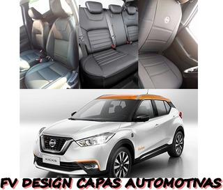 Capa Bancos Couro Bipartida Nissan Kicks Suv 2017 A 2020