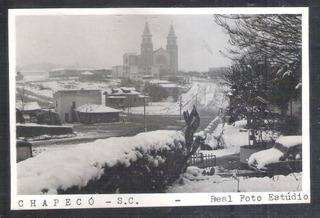 Postal Real Foto Estúdio Chapecó Com Neve, Igreja.