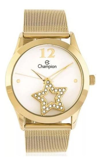 Kit Relógio Champion Feminino Ch25918w Colar Brincos Dourado