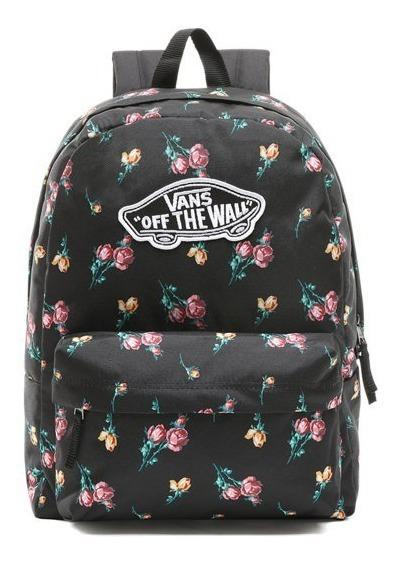 Mochila Vans Classic Skateboard Logo Floral Negro Rosas Escolar Mujer/ Niña 22 Litros Porta Laptop Mediana Urban Beach