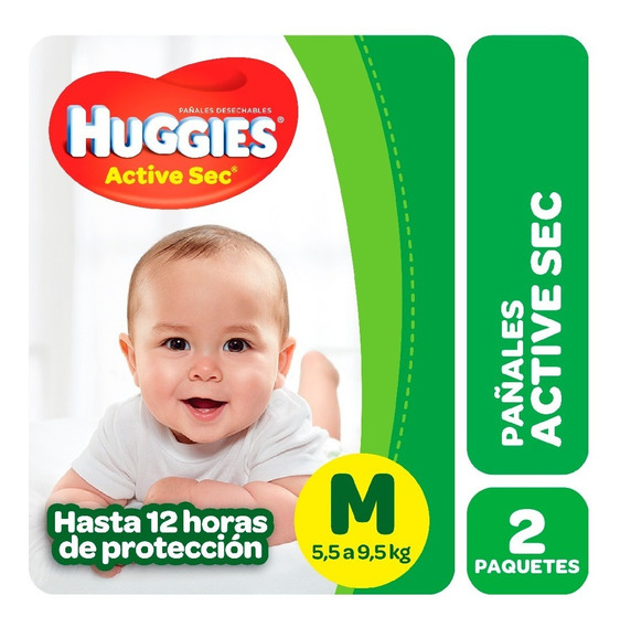 Pañales Huggies Active Sec Promopack Pack X 2 M G Xg Xxg