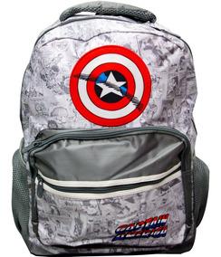 Mochila Capitan America Marvel Plata Original
