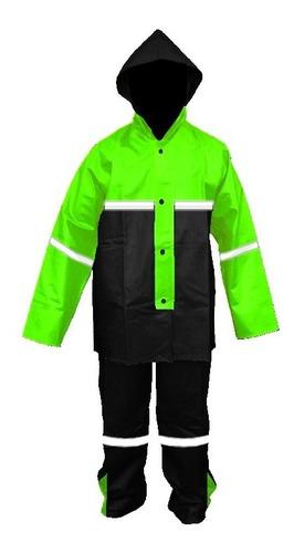 Imagen 1 de 10 de Impermeable Verde Para Motociclista C/reflejantes Impermexa