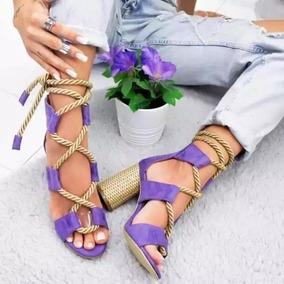 Sandália Com Amarração Em Cordinha Ref4356