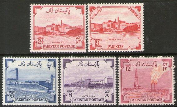 Pakistán 5 Sellos Nuevos Papelera, Gasífera, Yute Año 1955