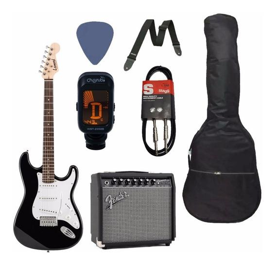 Pack Guitarra Electrica + Amplificador Fender + Accesorios