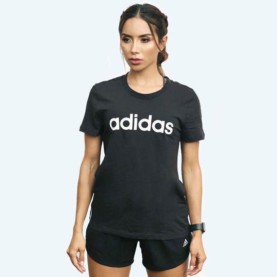 Camiseta adidas W E Lin Slim T Negro