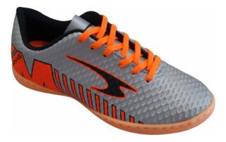 Tênis Futsal Rayve Prata/laranja Juvenil Adulto Masculino