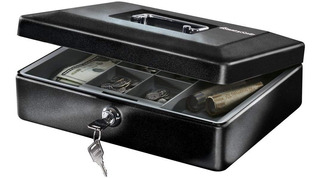 Caja De Dinero Billetes Con Charola Y Cerradura Para Llaves