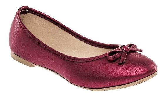 Zapato De Piso Flats Dama Sexy Girl 3005 Vino 22-26 Moño 687-872 T4
