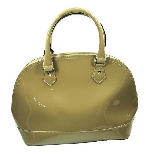 Imagen 1 de 2 de Bolsa Para Mujer Cartera Beige Bag Charol