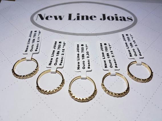 Meia Aliança Em Ouro 18k Com 11 Diamantes Verdadeiros
