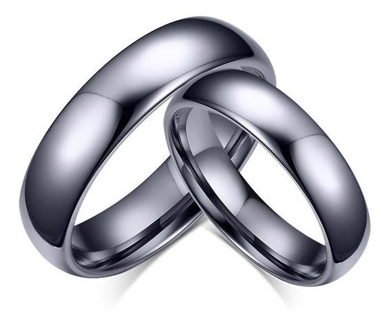 Alianças Anéis Compromisso Tungstênio 4 E 6mm