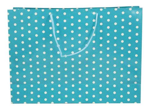 Sacola De Presente Azul Com Bolinhas Brancas - 10 Unidades