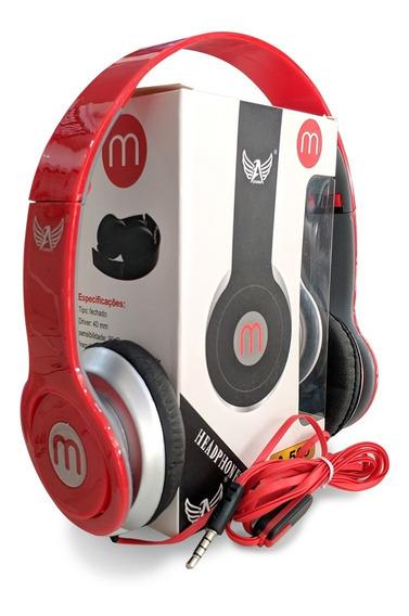 Fone Retrátil Modelo Beats De Fio E Microfone Mex Vermelho