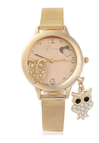 Relógios Feminino Coruja Pingente Pulso Quartzo Aço C2705
