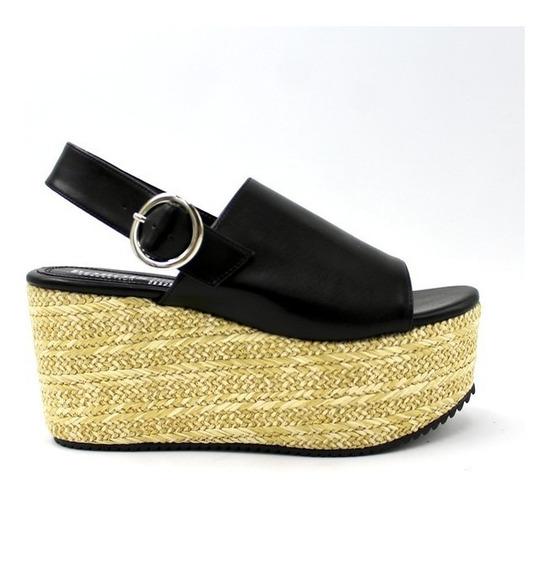 Alpargatas Zapatos Dama Tacto Piel Altos Abierto Negro 9200
