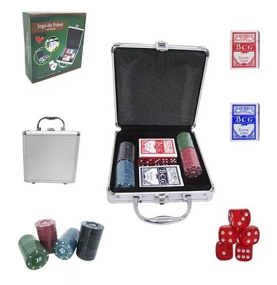 Ficha De Poker Com 100 Fichas 2 Baralhos 5 Dados Na Maleta