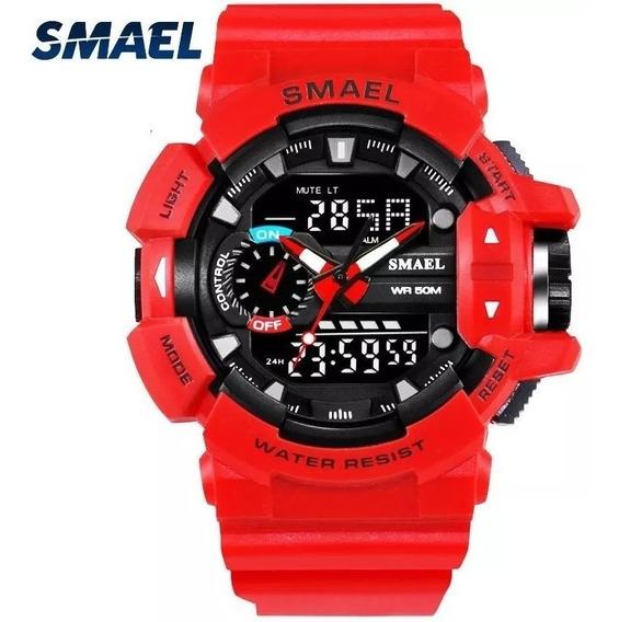 Reloj Smael 1436 Rojo Militar Uso Rudo Elegante Nuevo Tactic